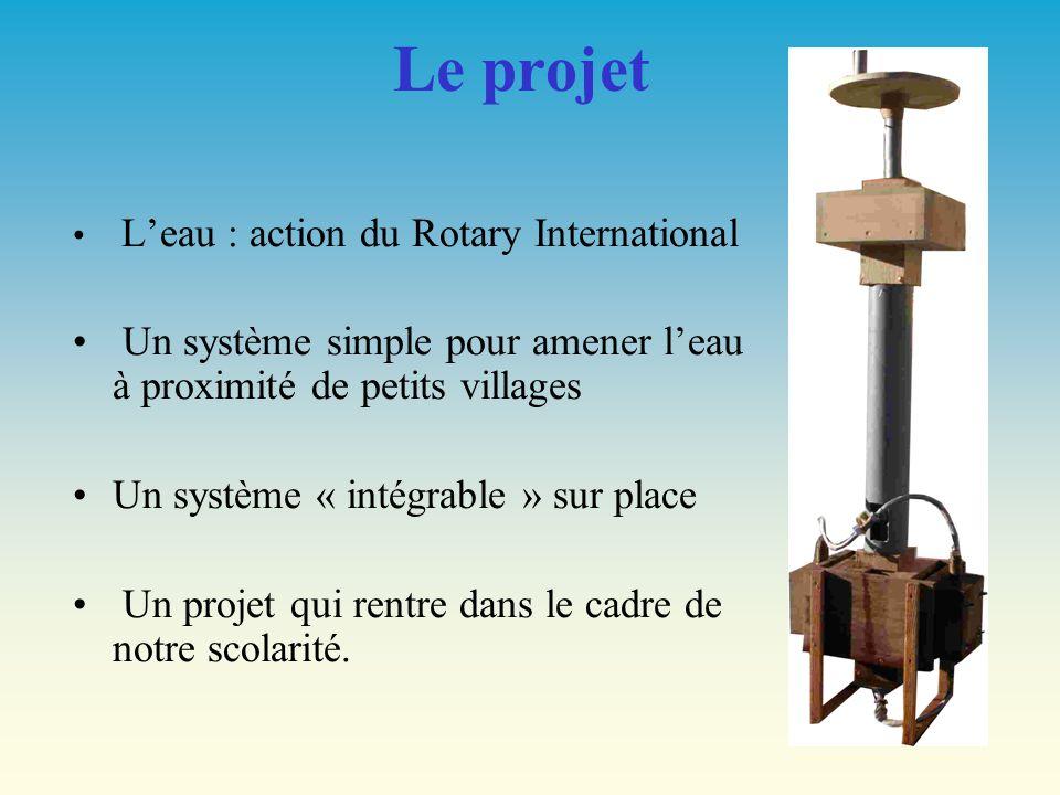 Le projet L'eau : action du Rotary International. Un système simple pour amener l'eau à proximité de petits villages.