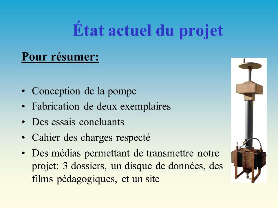 État actuel du projet Pour résumer: Conception de la pompe