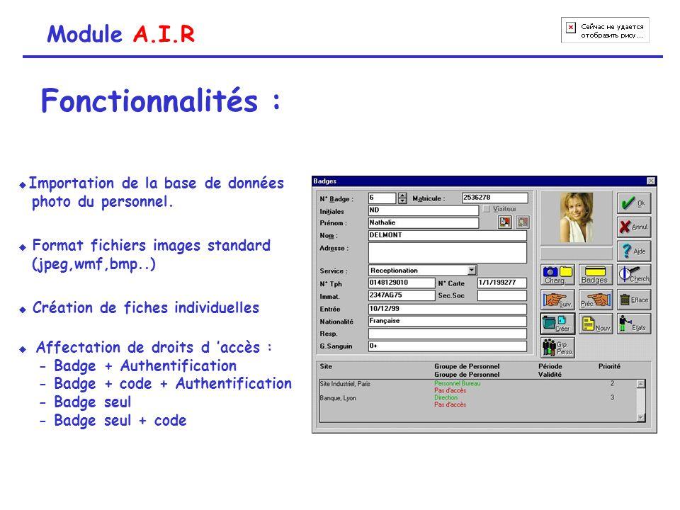 Fonctionnalités : Module A.I.R photo du personnel. (jpeg,wmf,bmp..)
