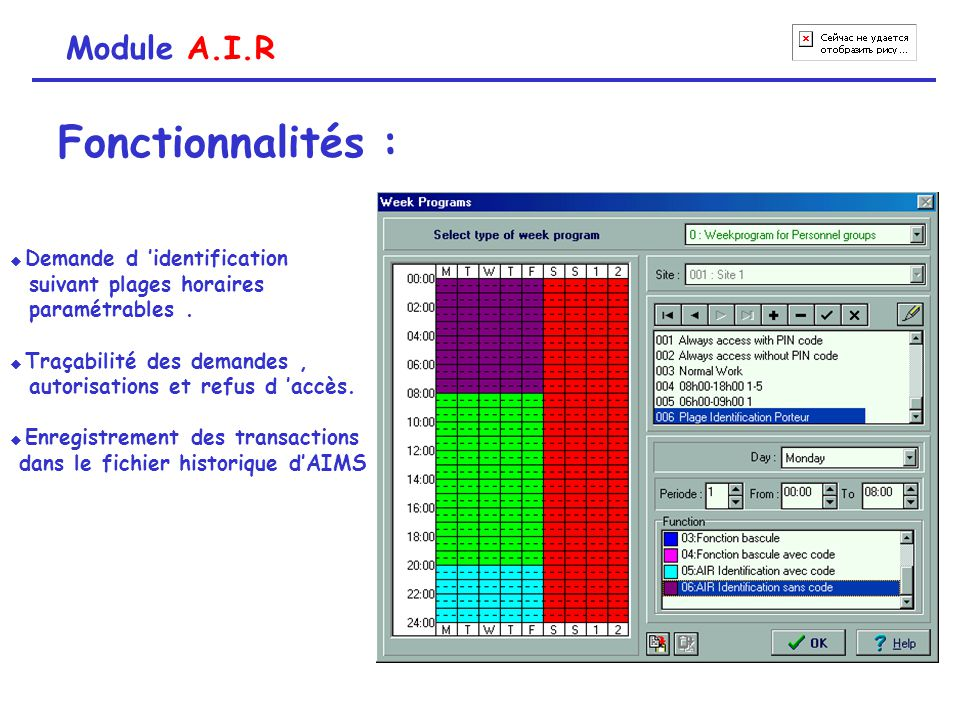 Fonctionnalités : Module A.I.R suivant plages horaires paramétrables .