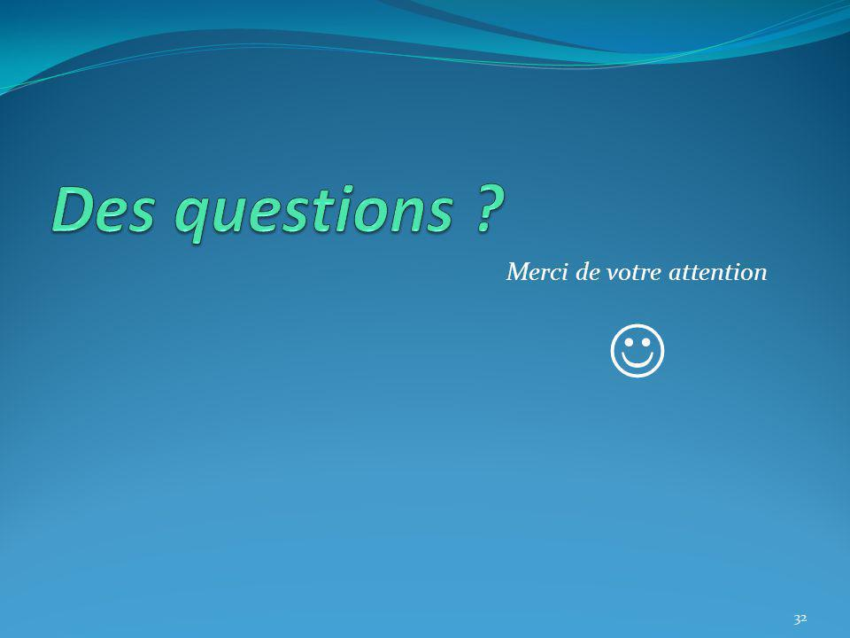 Des questions Merci de votre attention 
