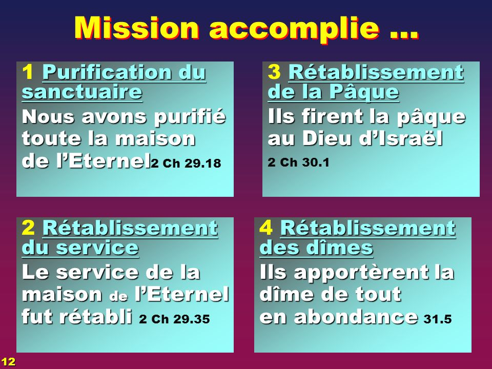 Mission accomplie … 1 Purification du sanctuaire toute la maison