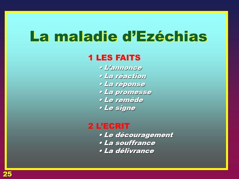 La maladie d'Ezéchias 1 LES FAITS • L'annonce 2 L'ECRIT • La réaction