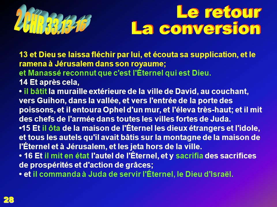 Le retour La conversion