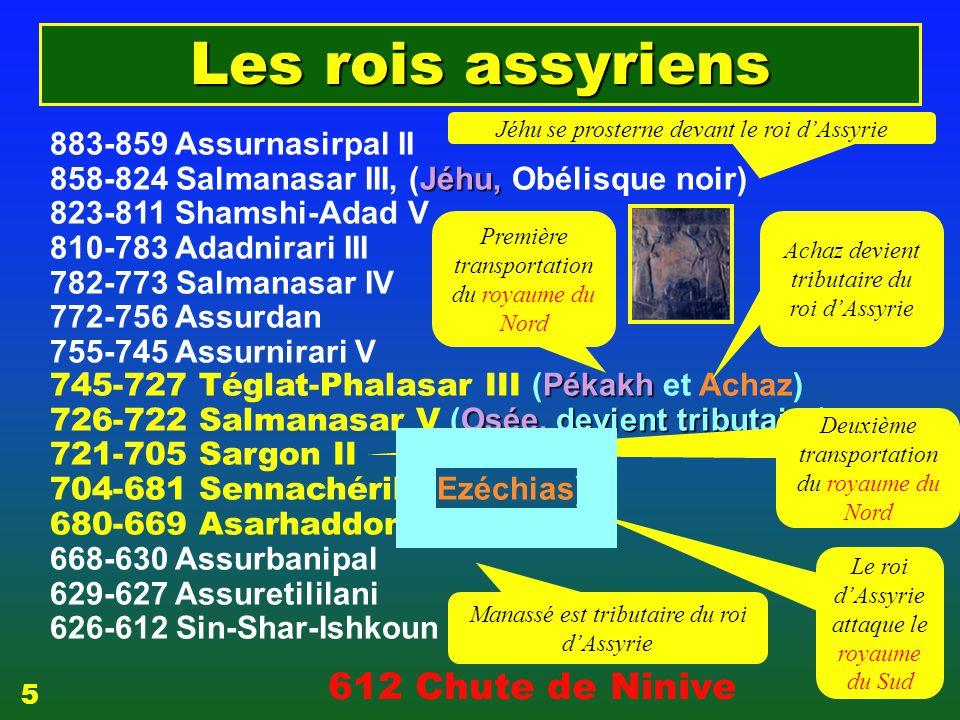 Les rois assyriens 612 Chute de Ninive 883-859 Assurnasirpal II
