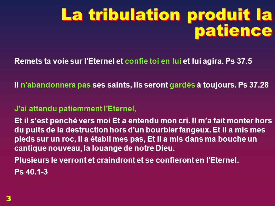 La tribulation produit la patience