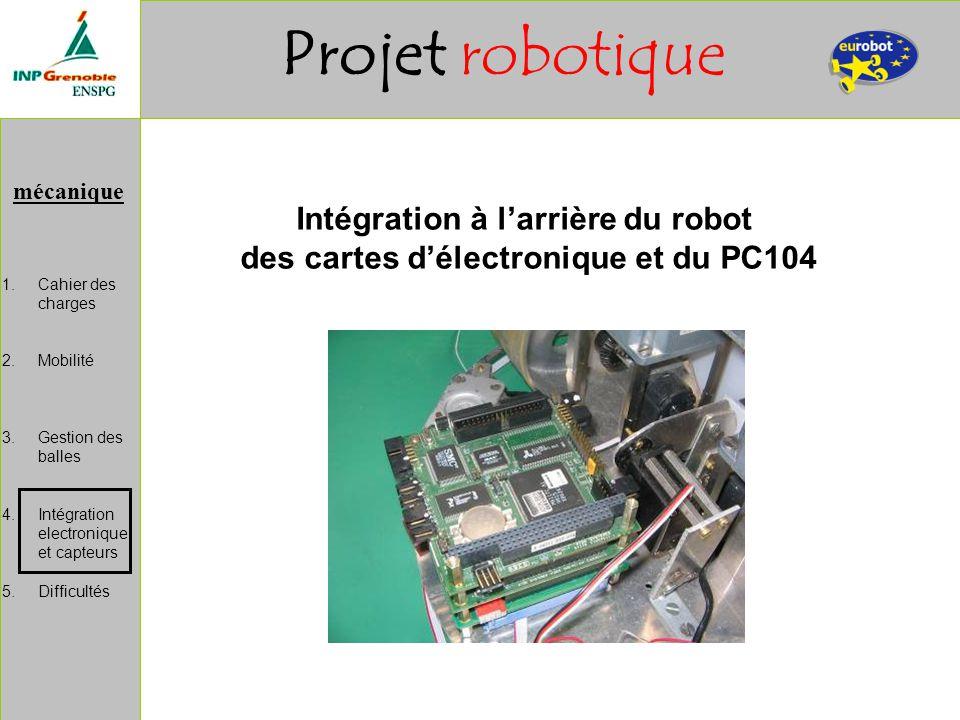 Intégration à l'arrière du robot des cartes d'électronique et du PC104