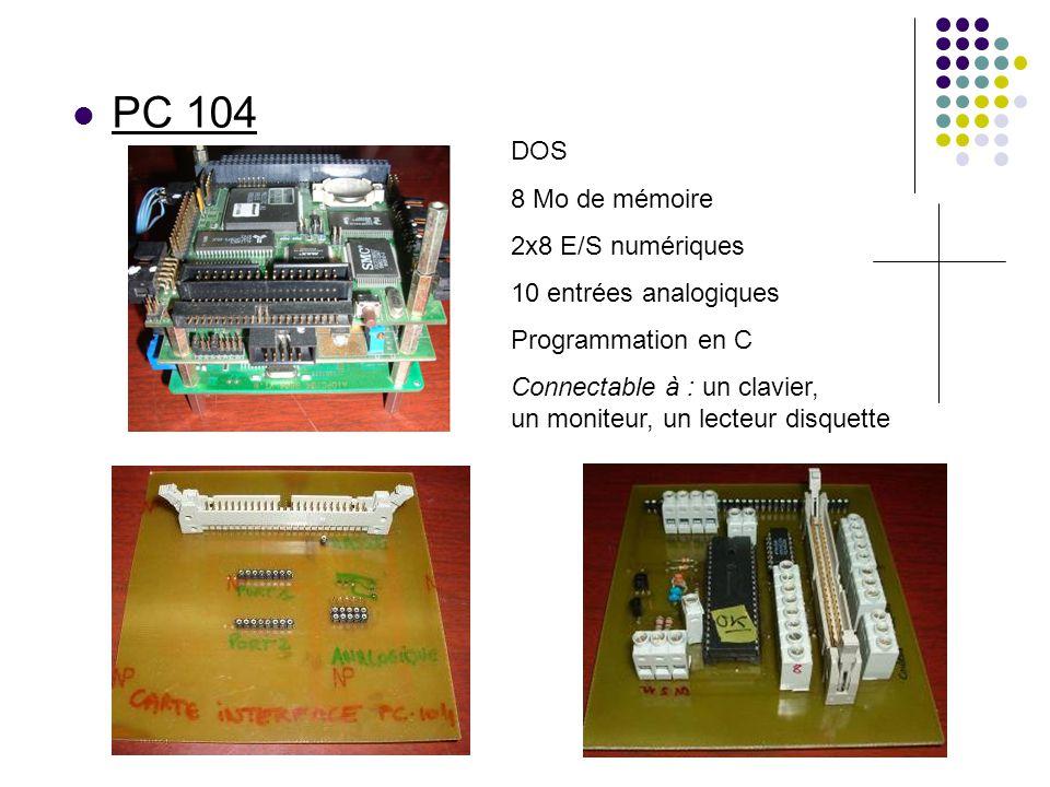 PC 104 DOS 8 Mo de mémoire 2x8 E/S numériques 10 entrées analogiques