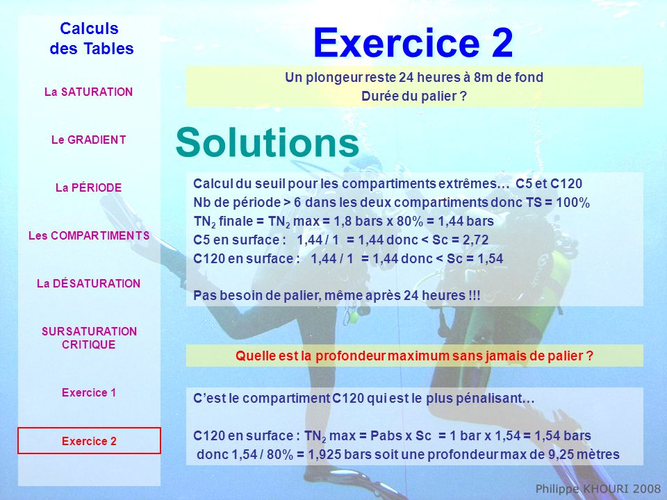 Exercice 2 Solutions Calculs des Tables