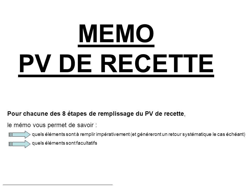 MEMO PV DE RECETTE Pour chacune des 8 étapes de remplissage du PV de recette, le mémo vous permet de savoir :