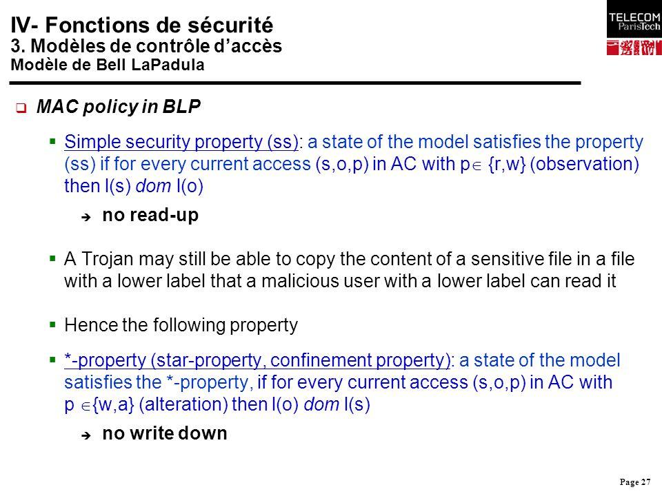 IV- Fonctions de sécurité 3