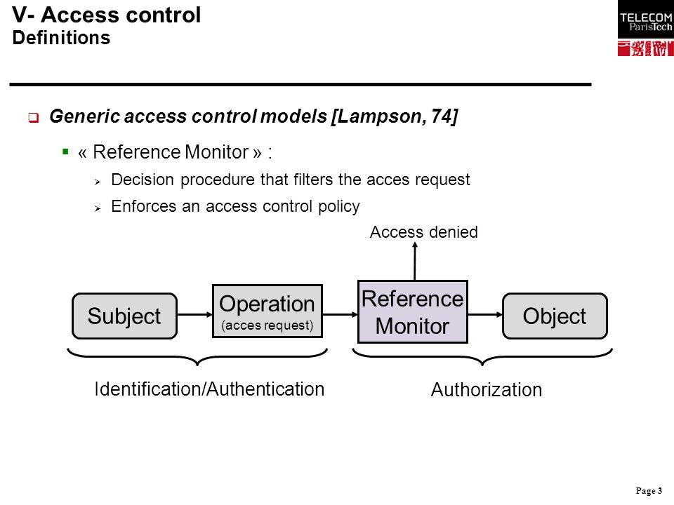 V- Access control Definitions
