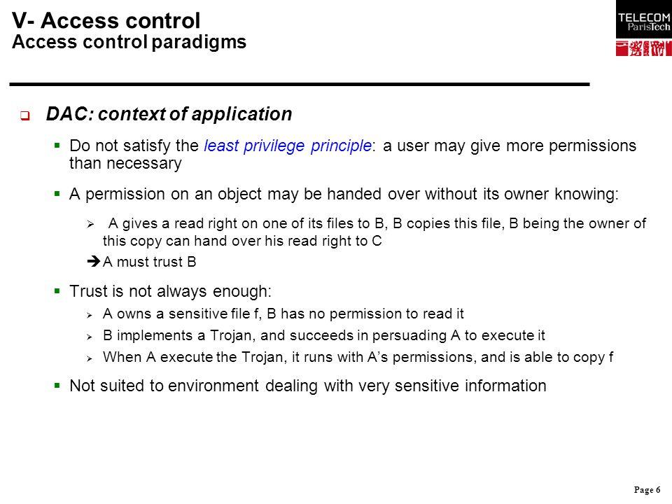 V- Access control Access control paradigms