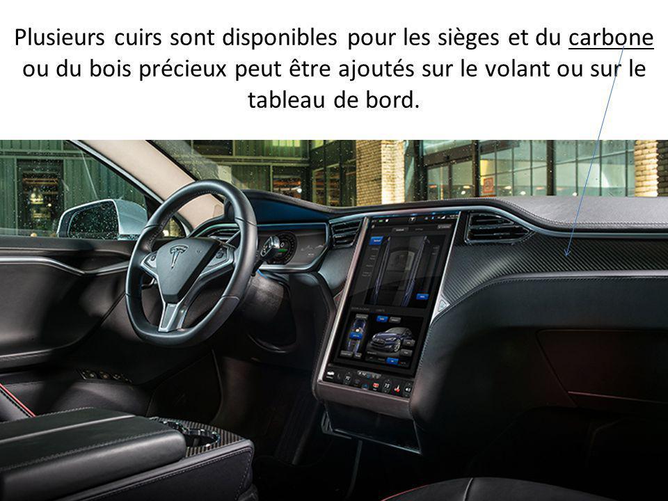 Plusieurs cuirs sont disponibles pour les sièges et du carbone ou du bois précieux peut être ajoutés sur le volant ou sur le tableau de bord.