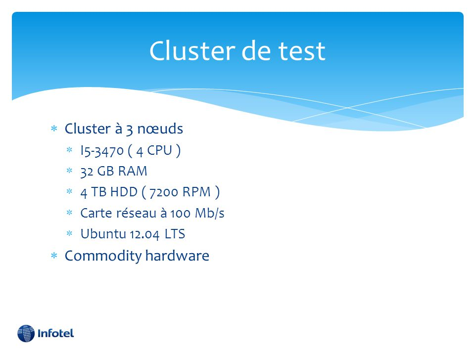 Cluster de test Cluster à 3 nœuds Commodity hardware I5-3470 ( 4 CPU )