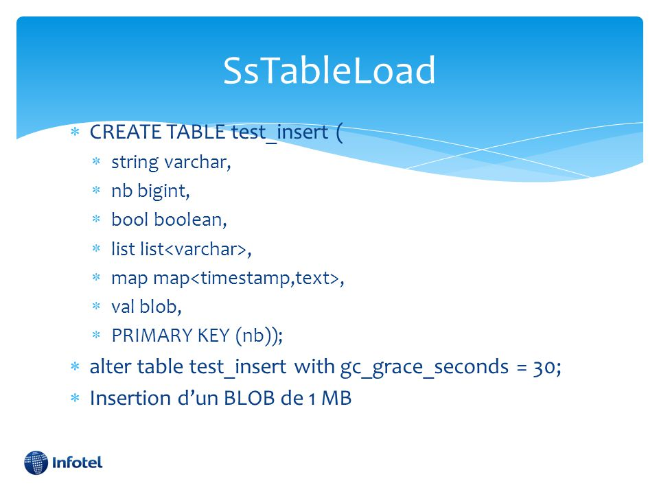 SsTableLoad CREATE TABLE test_insert (