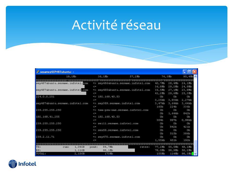 Activité réseau CPU: OK, RAM: OK