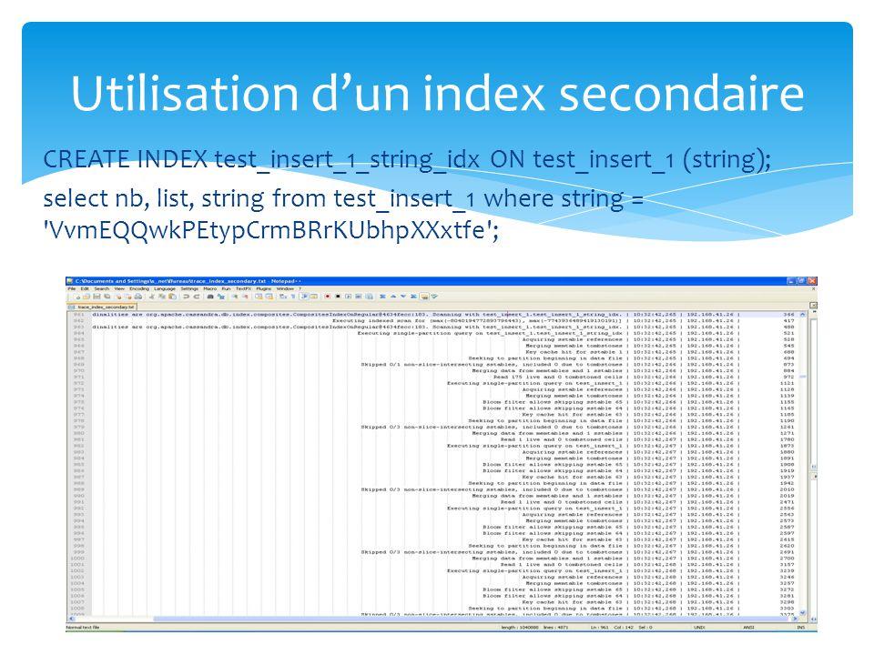 Utilisation d'un index secondaire