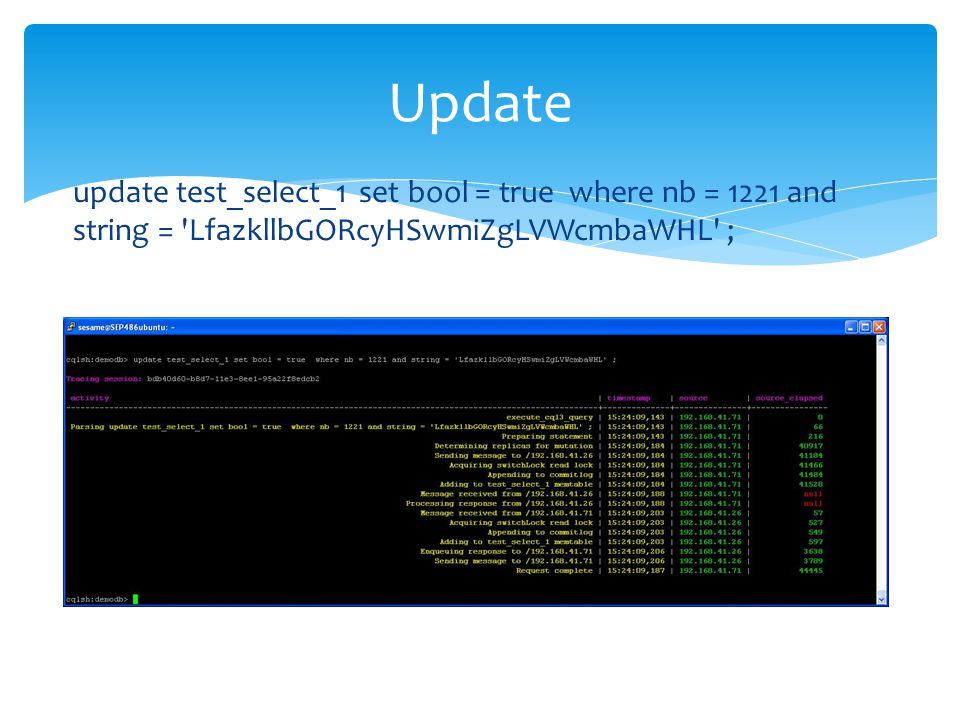 Update update test_select_1 set bool = true where nb = 1221 and string = LfazkllbGORcyHSwmiZgLVWcmbaWHL ;