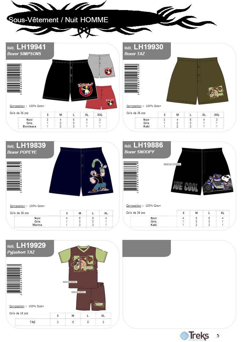 Boxer SIMPSONS Boxer TAZ Boxer POPEYE Boxer SNOOPY Pyjashort TAZ