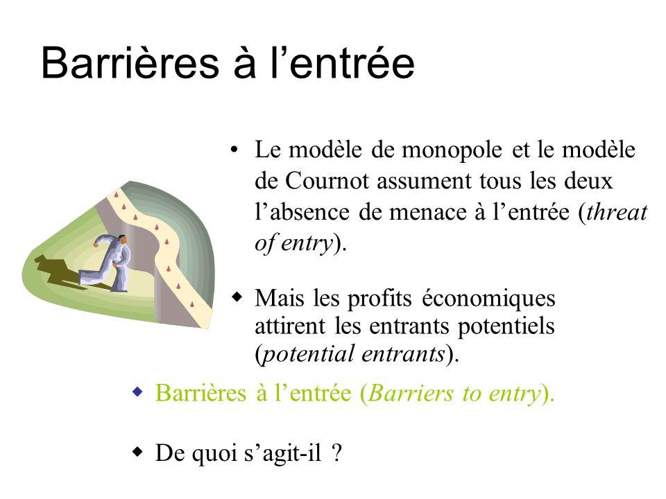 Barrières à l'entrée Le modèle de monopole et le modèle de Cournot assument tous les deux l'absence de menace à l'entrée (threat of entry).