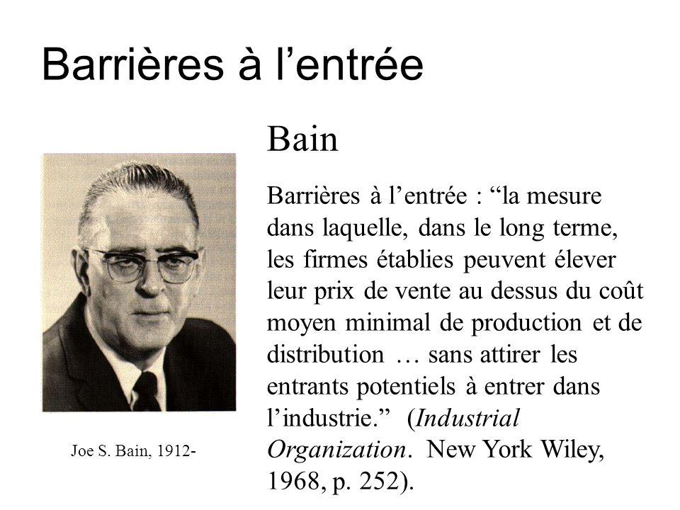 Barrières à l'entrée Bain