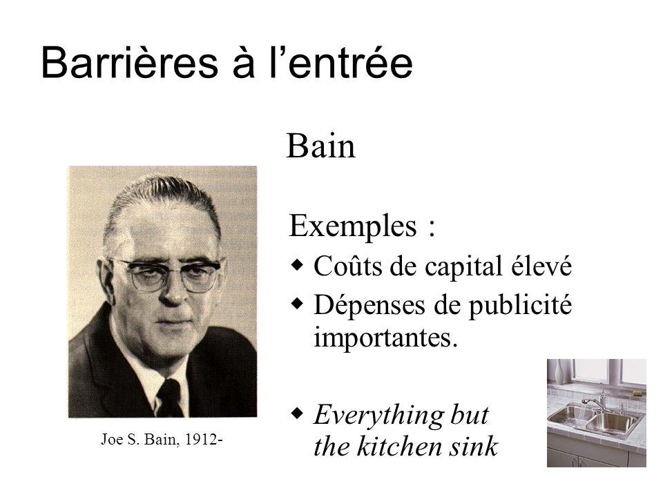 Barrières à l'entrée Bain Exemples : Coûts de capital élevé