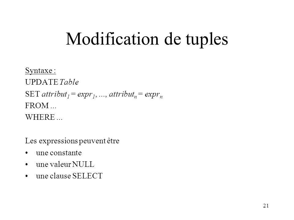 Modification de tuples