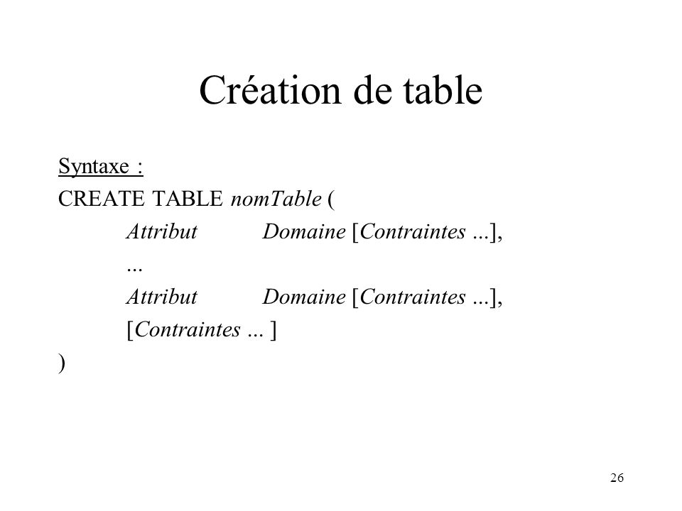 Création de table Syntaxe : CREATE TABLE nomTable (