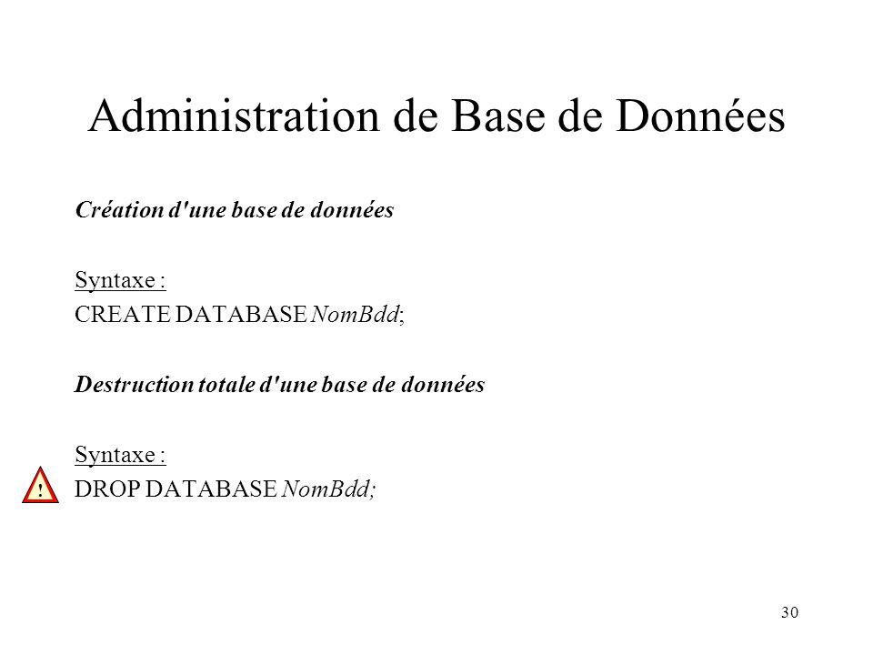Administration de Base de Données