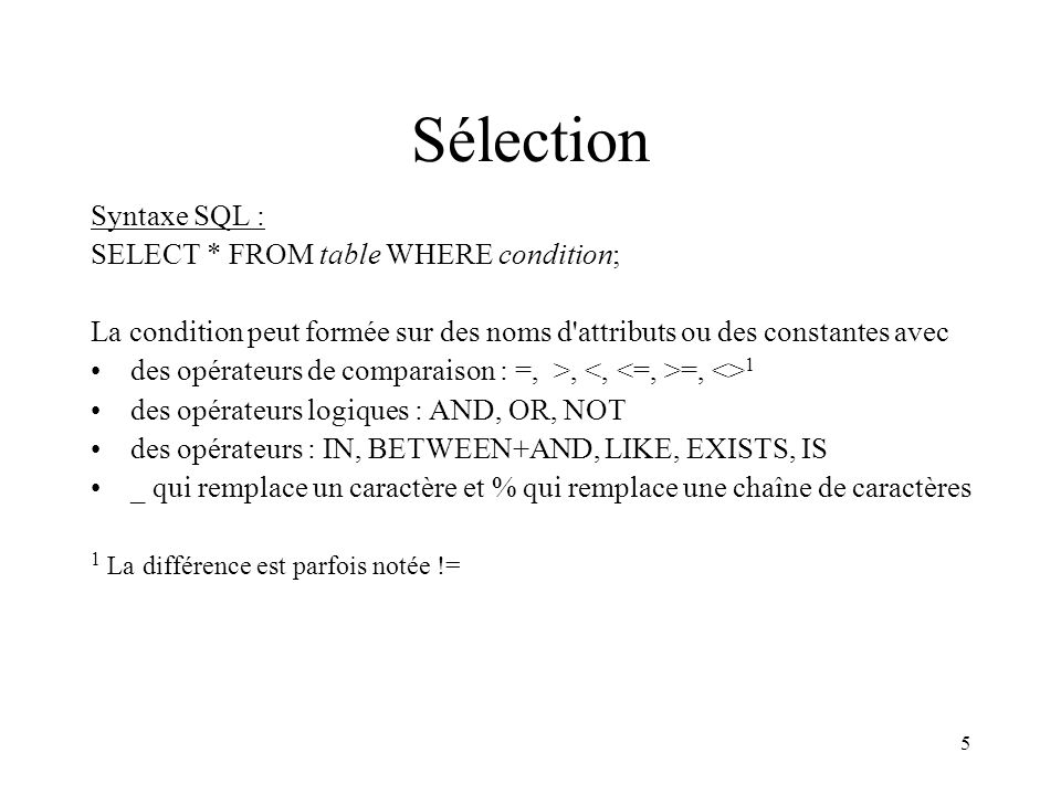 Sélection Syntaxe SQL : SELECT * FROM table WHERE condition;