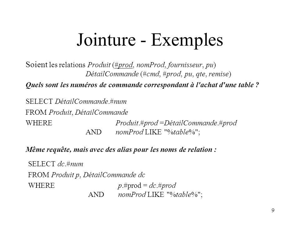 Jointure - Exemples Soient les relations Produit (#prod, nomProd, fournisseur, pu) DétailCommande (#cmd, #prod, pu, qte, remise)