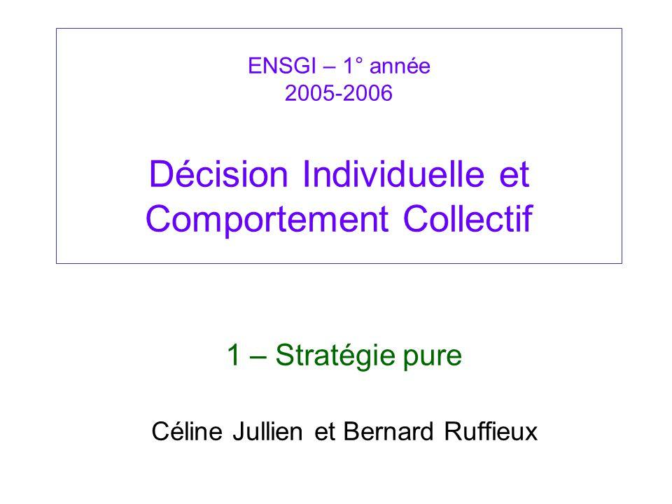 1 – Stratégie pure Céline Jullien et Bernard Ruffieux