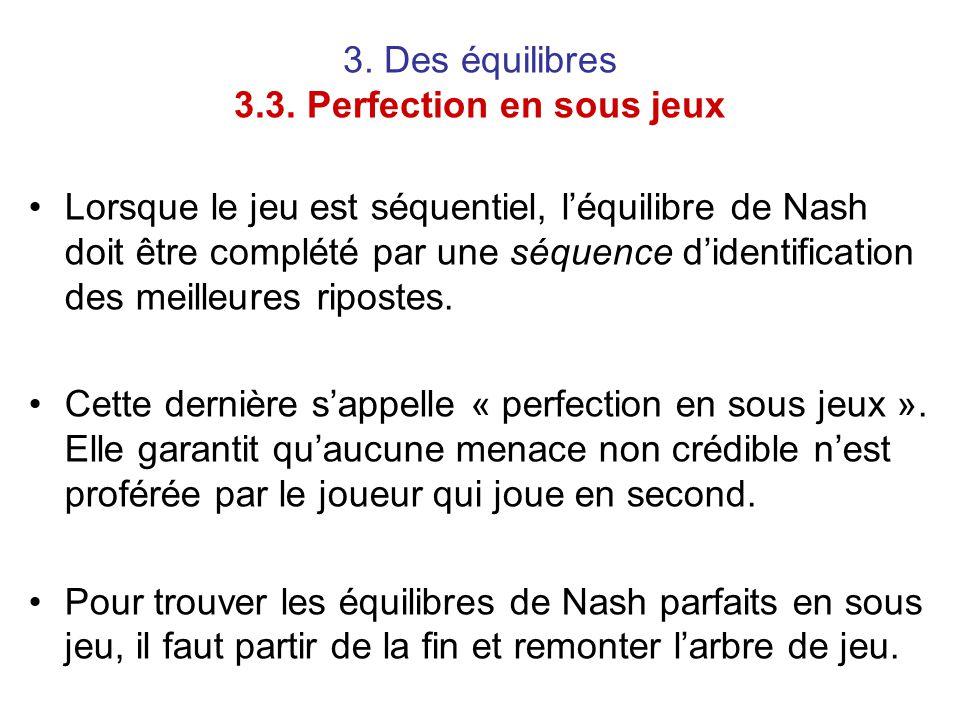 3. Des équilibres 3.3. Perfection en sous jeux