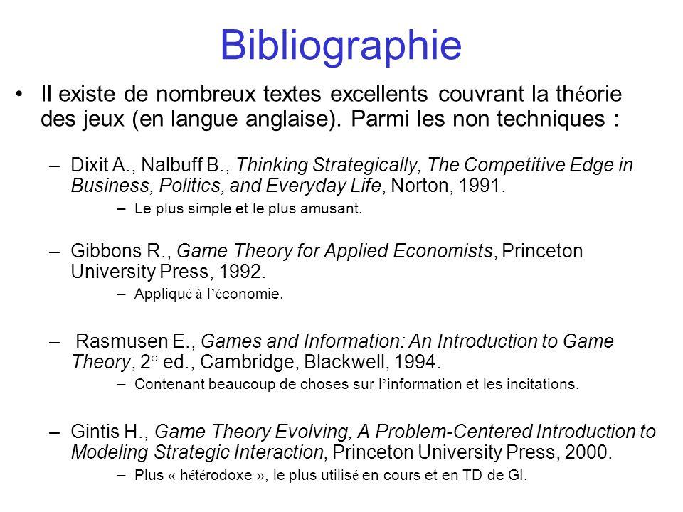 Bibliographie Il existe de nombreux textes excellents couvrant la théorie des jeux (en langue anglaise). Parmi les non techniques :