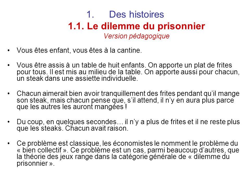 Des histoires 1.1. Le dilemme du prisonnier Version pédagogique