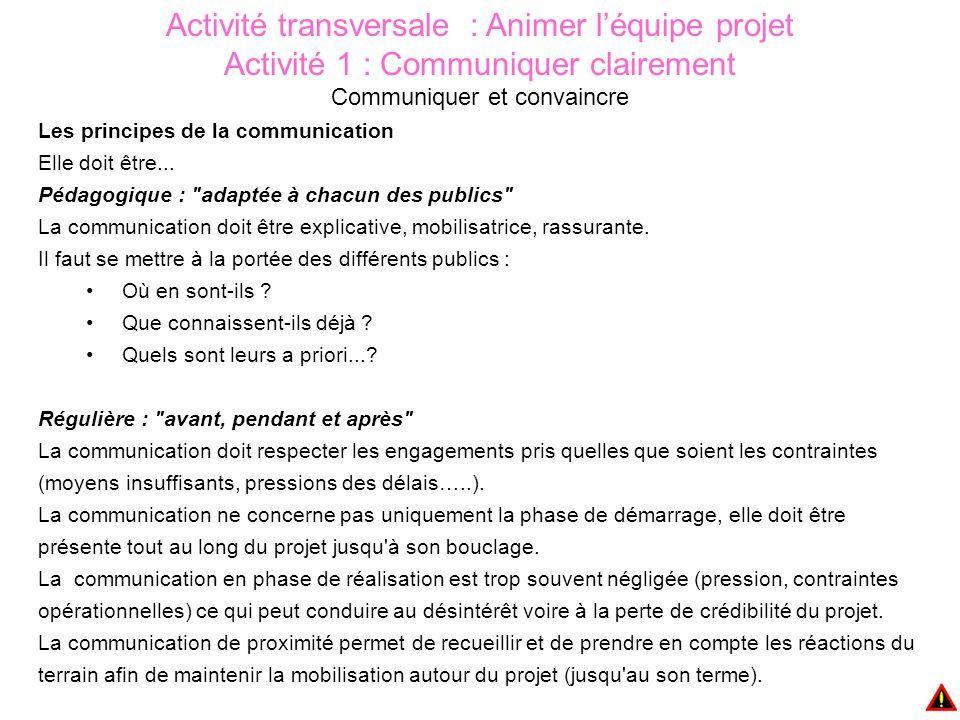 Activité transversale : Animer l'équipe projet