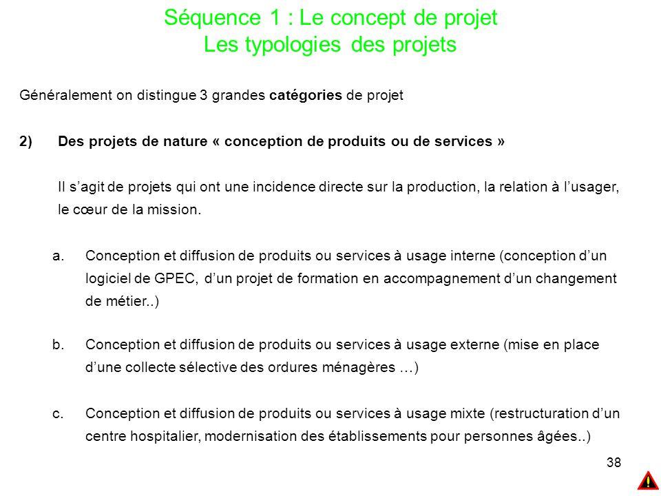 Séquence 1 : Le concept de projet Les typologies des projets