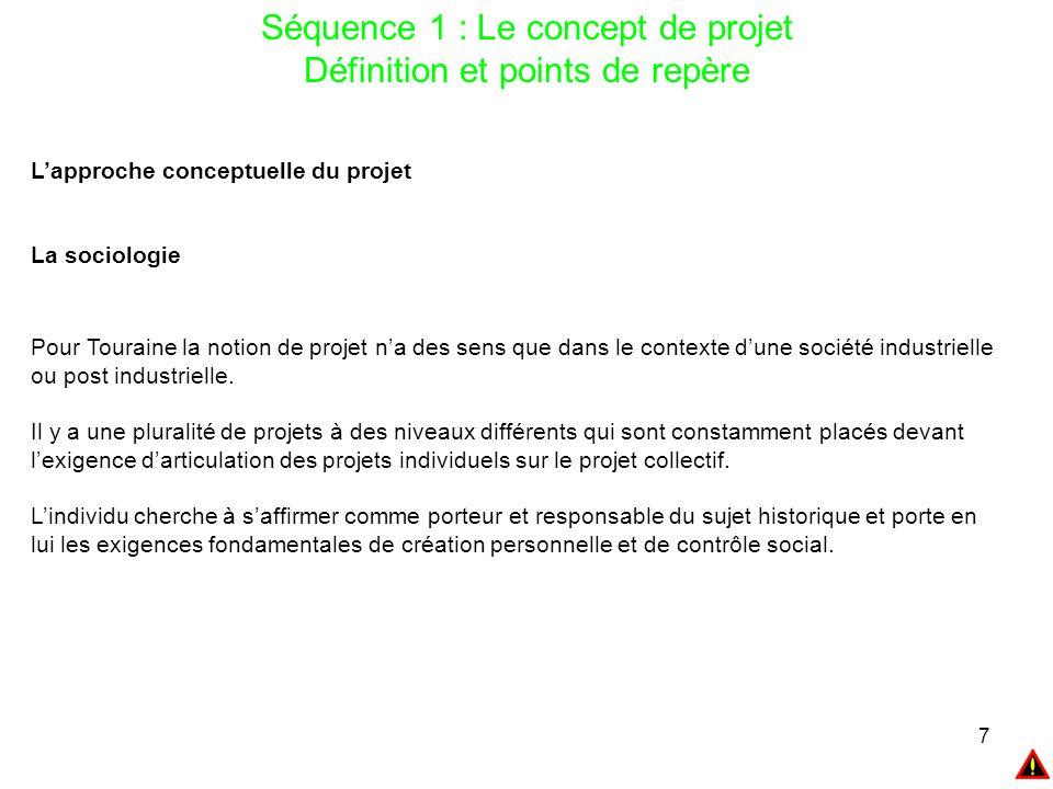 Séquence 1 : Le concept de projet Définition et points de repère