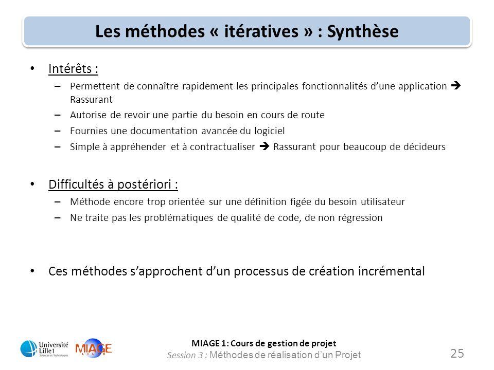 Les méthodes « itératives » : Synthèse