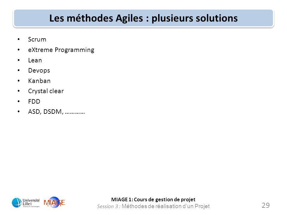 Les méthodes Agiles : plusieurs solutions