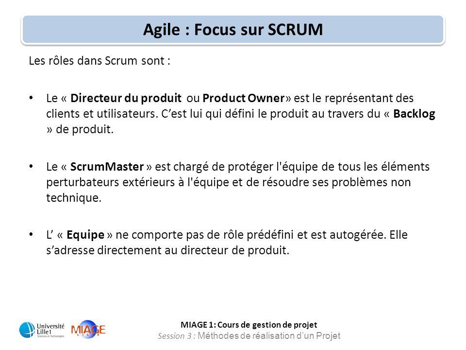 Agile : Focus sur SCRUM Les rôles dans Scrum sont :