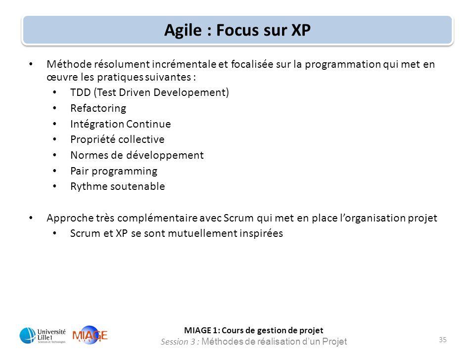 Agile : Focus sur XP Méthode résolument incrémentale et focalisée sur la programmation qui met en œuvre les pratiques suivantes :