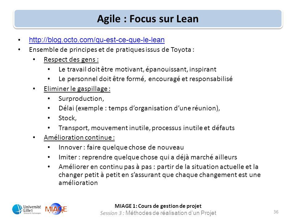 Agile : Focus sur Lean http://blog.octo.com/qu-est-ce-que-le-lean