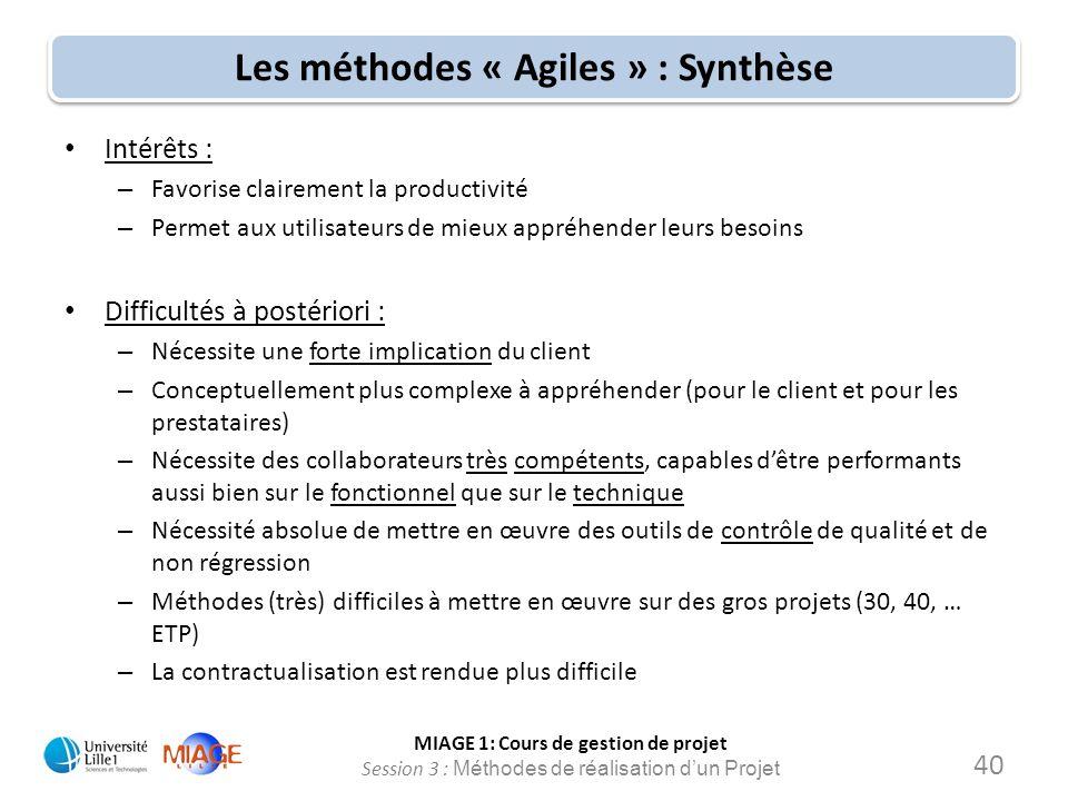 Les méthodes « Agiles » : Synthèse