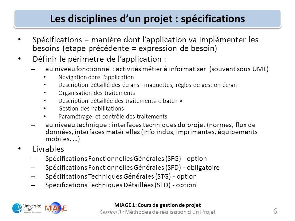 Les disciplines d'un projet : spécifications