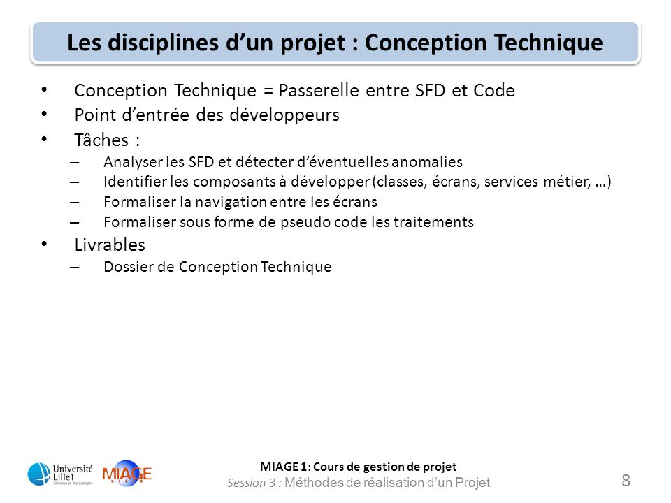 Les disciplines d'un projet : Conception Technique