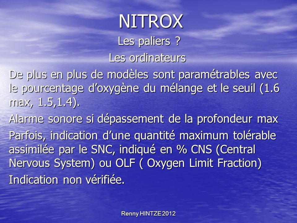 NITROX Les paliers Les ordinateurs