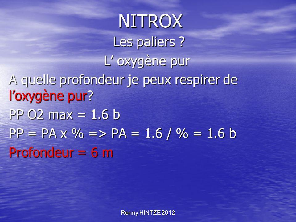 NITROX Les paliers L' oxygène pur