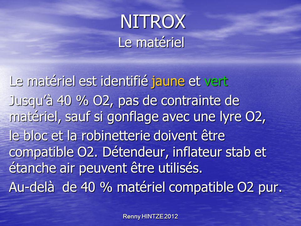NITROX Le matériel Le matériel est identifié jaune et vert